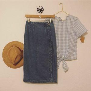 Vintage denim midi pencil skirt